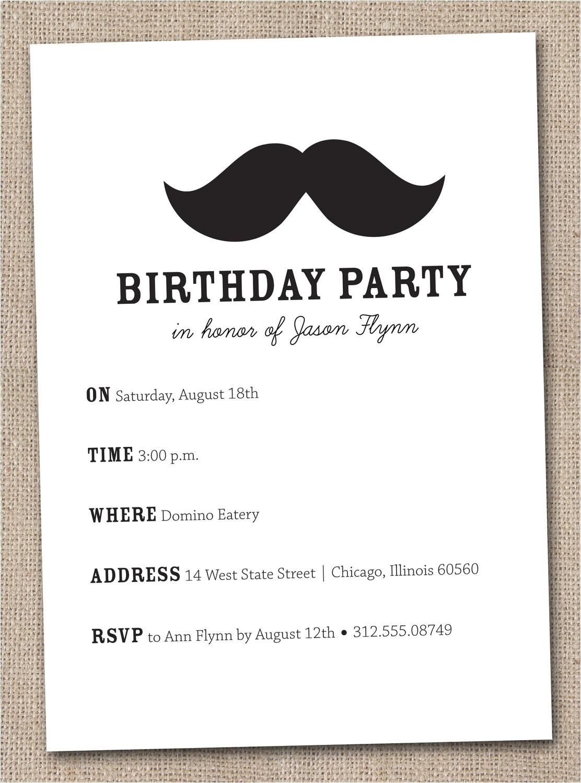 Free Printable Mustache Birthday Invitations 7 Best Of Mustache Party Invitations Printable Free
