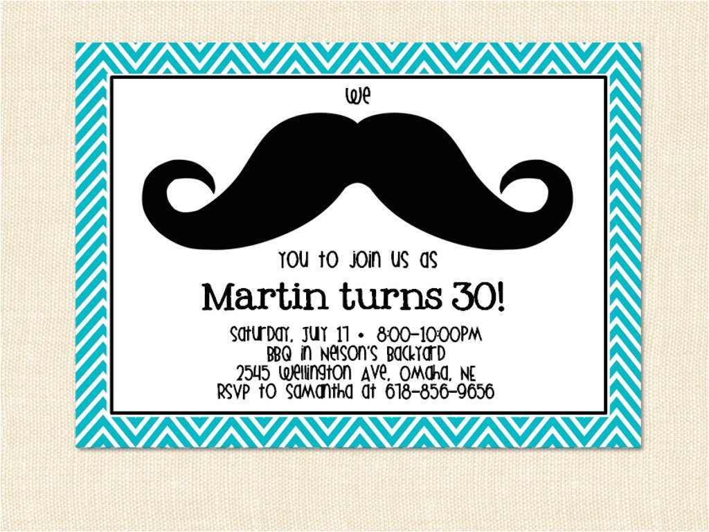 mustache birthday invitation template