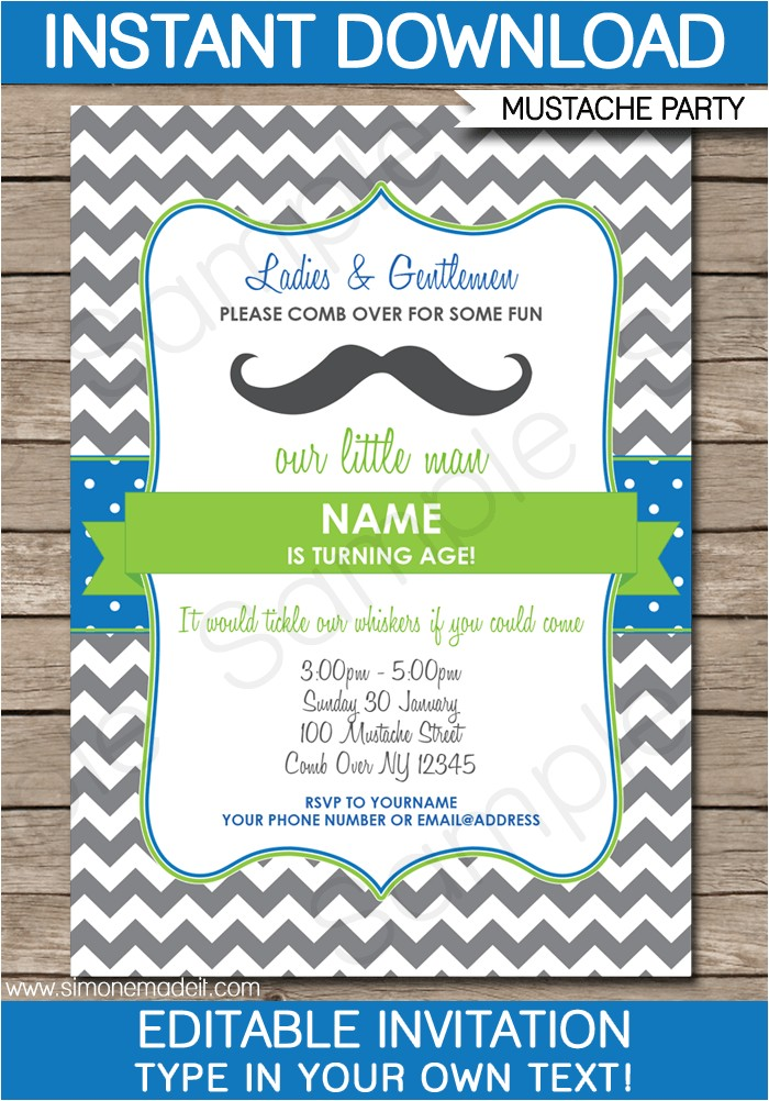 printable mustache party invitations