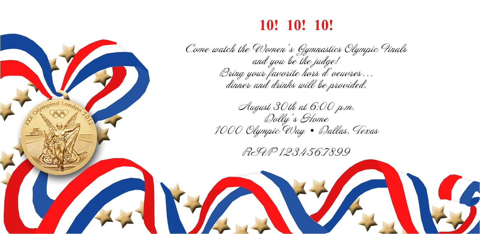 olympics party invitation