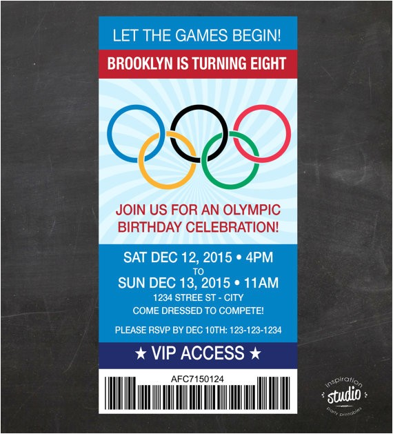 olympics ticket birthday invite games custom
