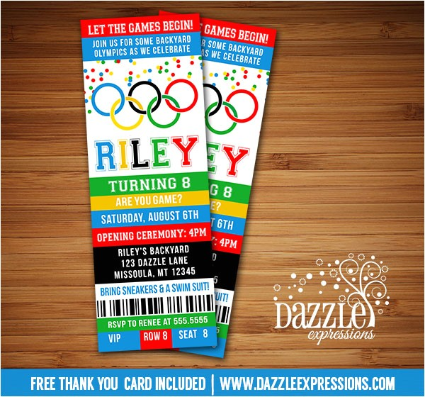 Olympic Games Ticket Invitation FREE thank you card included