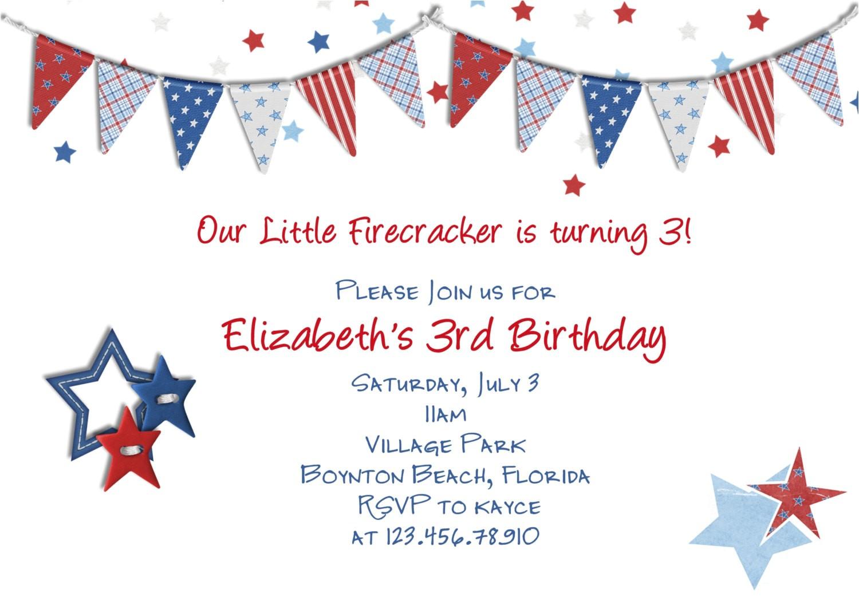 july 4th patriotic birthday invitation