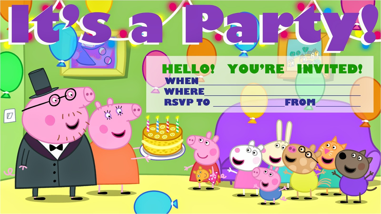 peppa pig party invitation and peppa