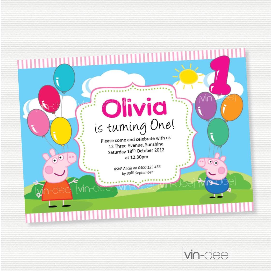 peppa pig balloons birthday invitation