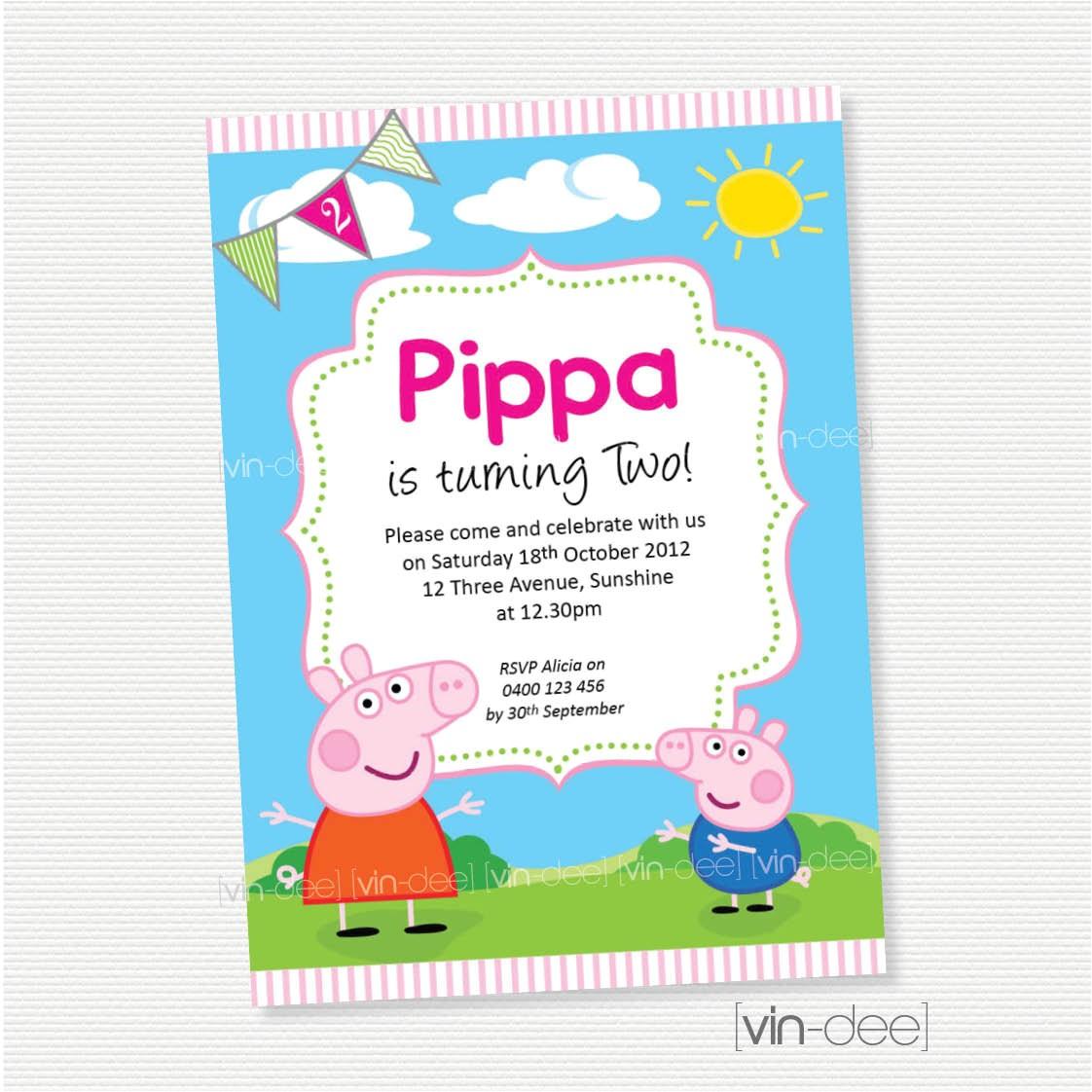 peppa pig birthday invitation diy