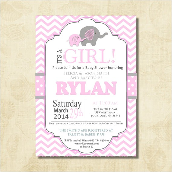 pink elephant baby shower invitation chevron