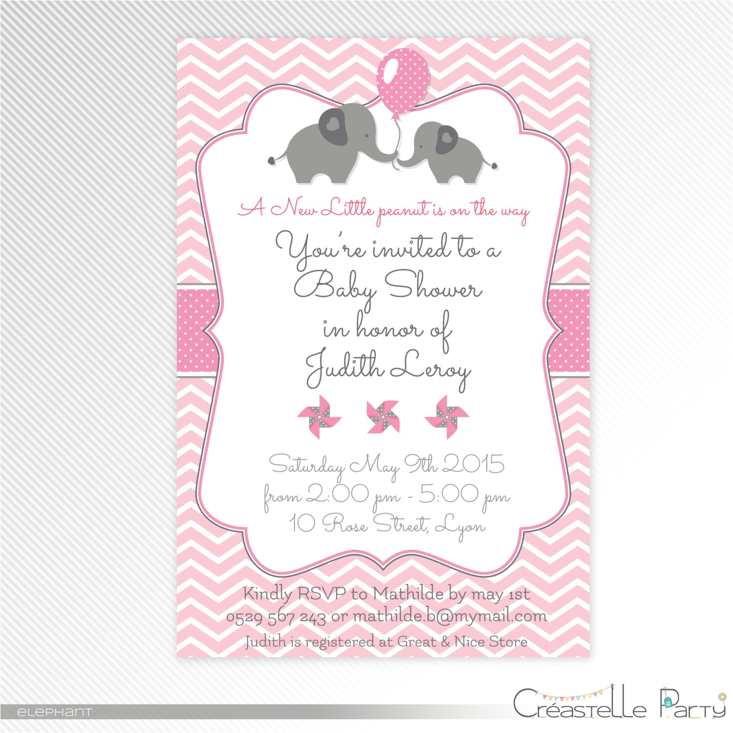 pink elephant baby shower printable