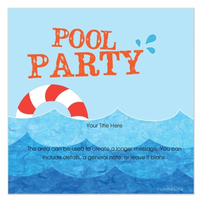 free pool party invitation template 2
