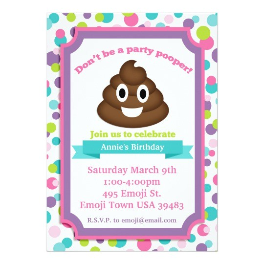 poop emoji girl birthday invitation 256045674714870679