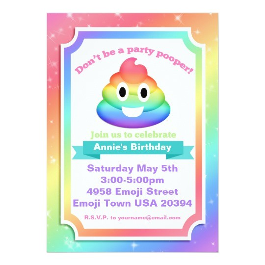 rainbow poop emoji birthday invitation 256592621113655124