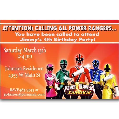 power rangers birthday invitations