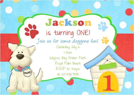 puppy dog boy birthday invitation printable