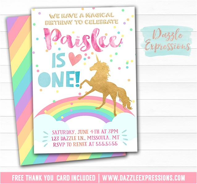 Unicorn Birthday Invitation 1 FREE thank you card included