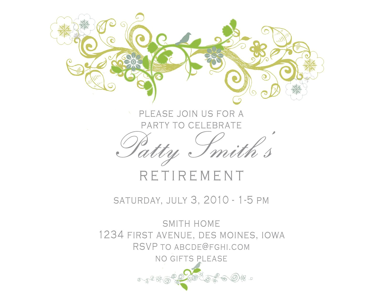 retirement invitation card