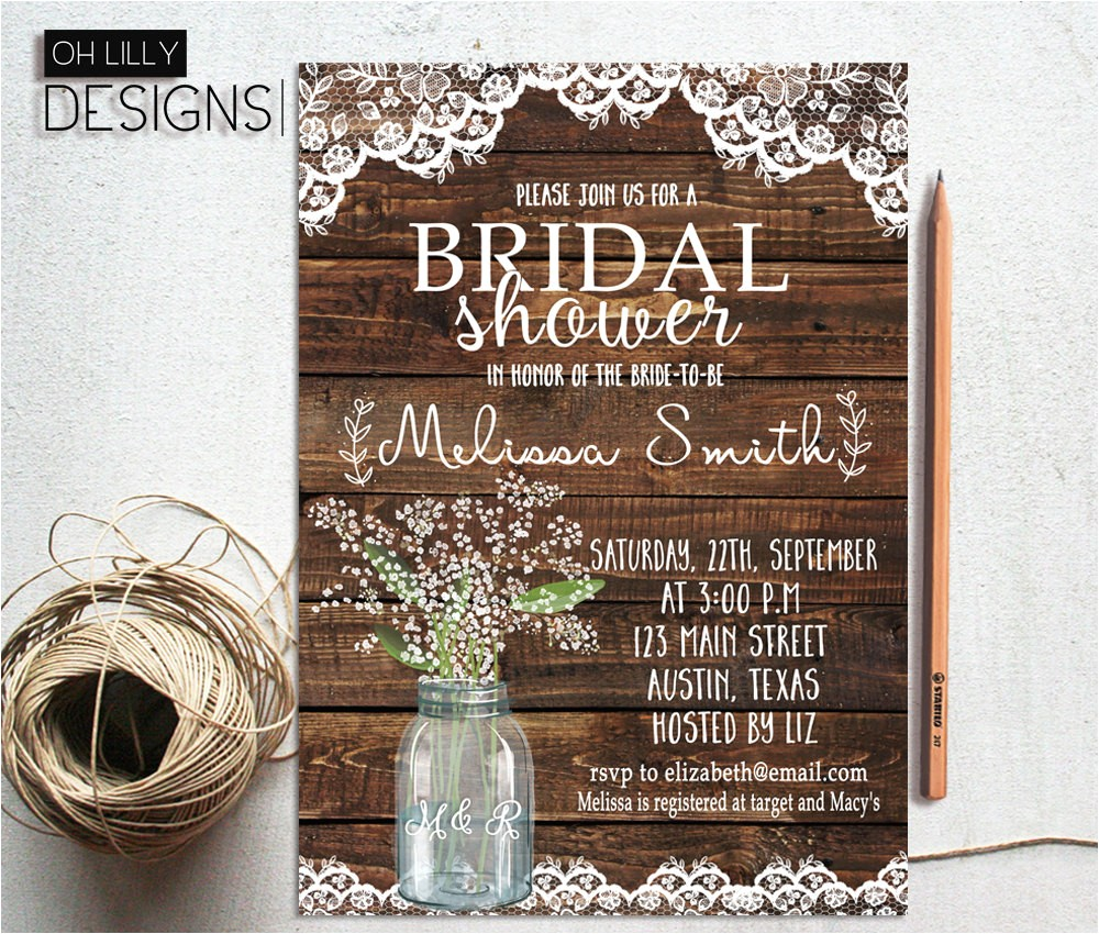 rustic bridal shower invitation