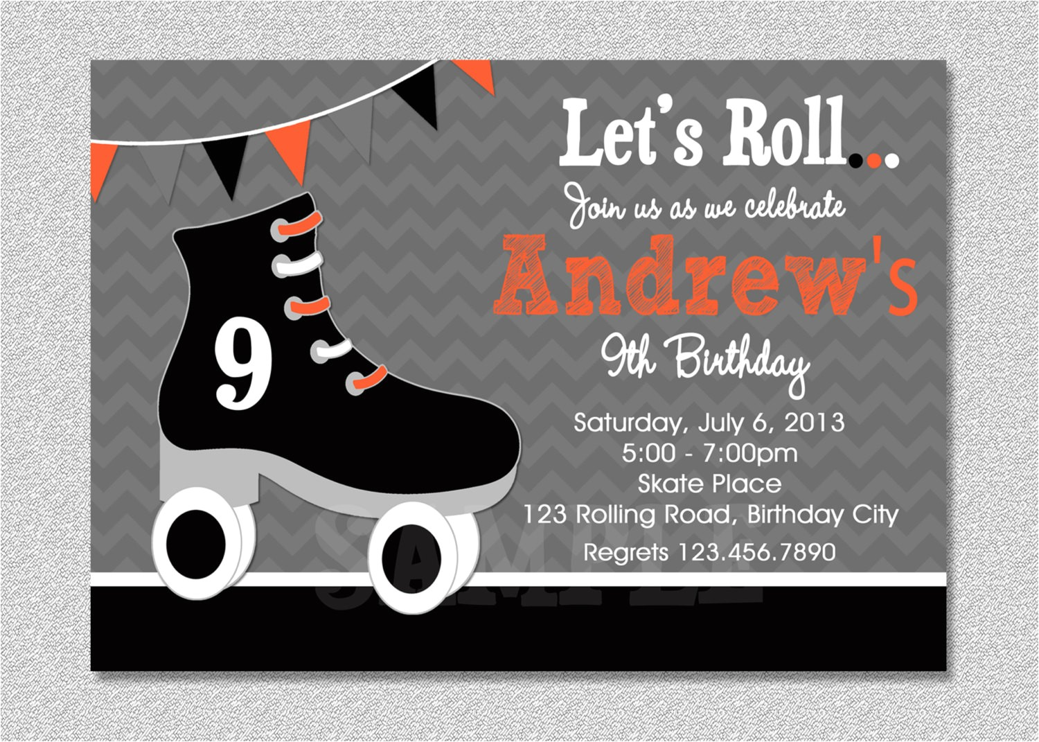 boys skating birthday invitation boys