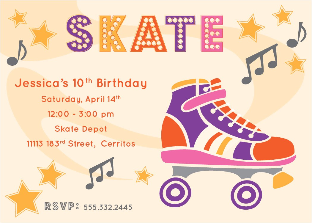 retro roller skate party invitation