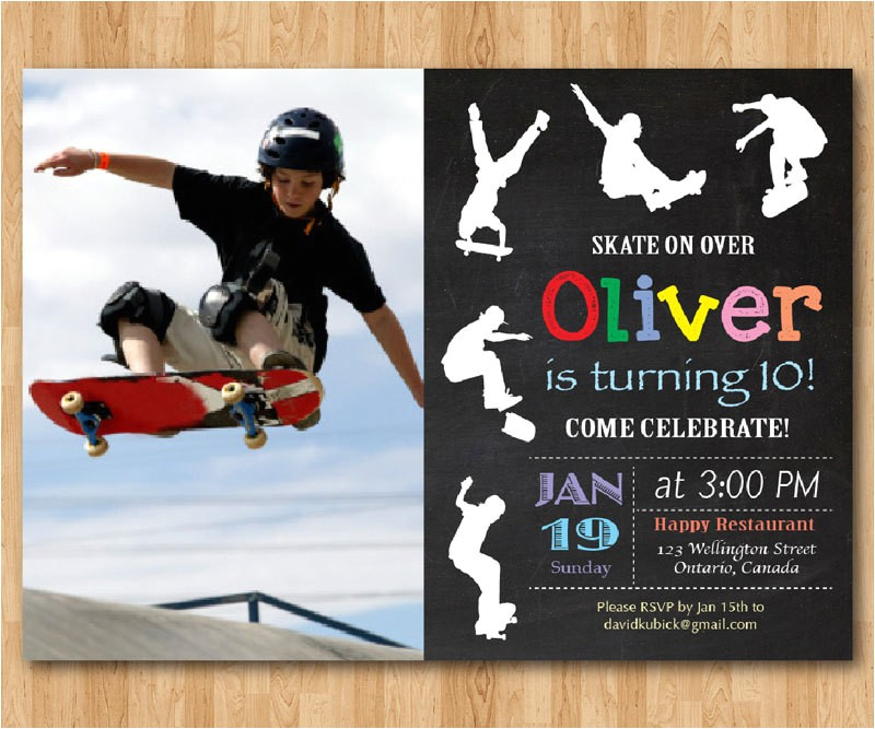 skateboard birthday invitation boy