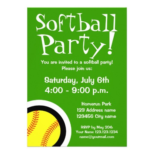 softball party invitations for birthdays and bbq
