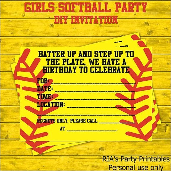 Free Printable softball Birthday Invitations softball Party Invitations