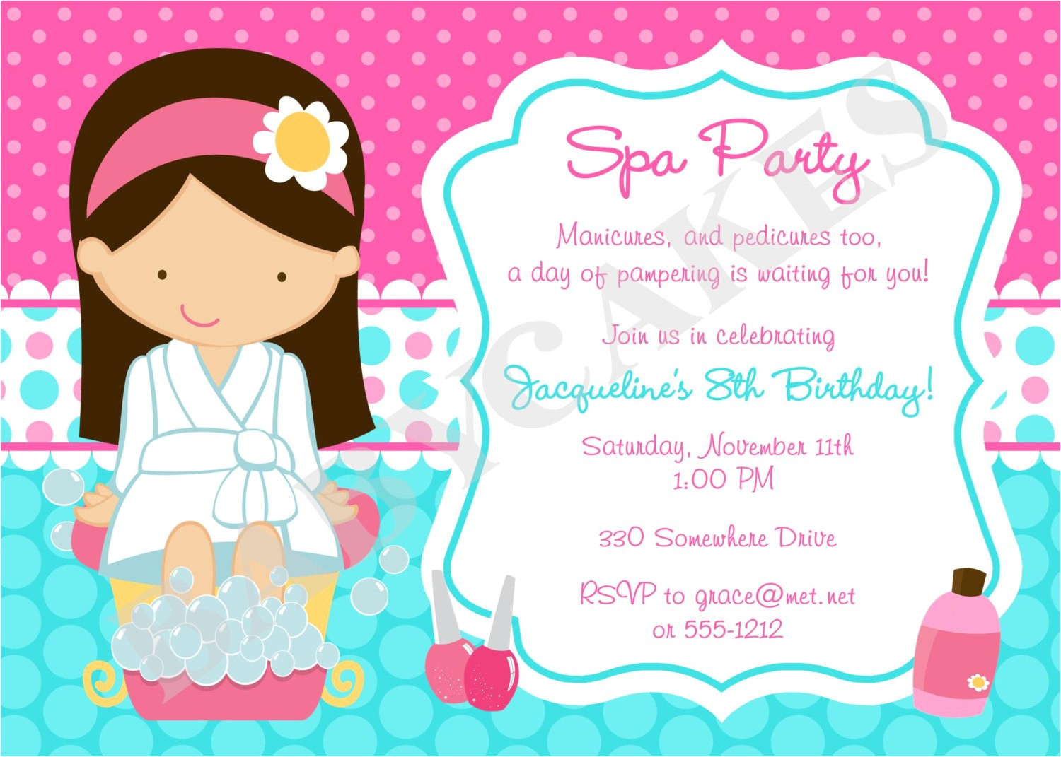 spa party invitation spa birthday party