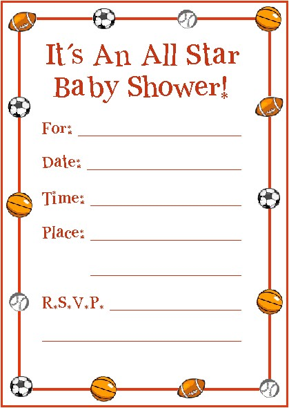 sports baby shower invitation