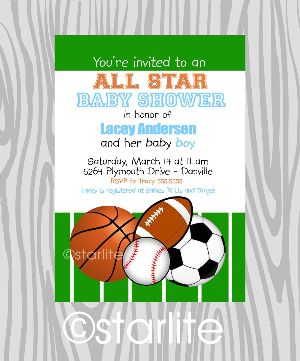 free printable sports themed baby shower invitations 2