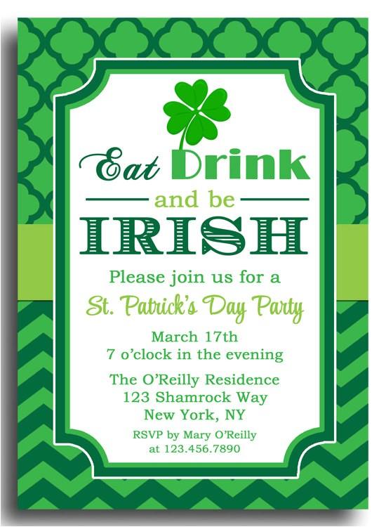 st patricks day invitation printable eat
