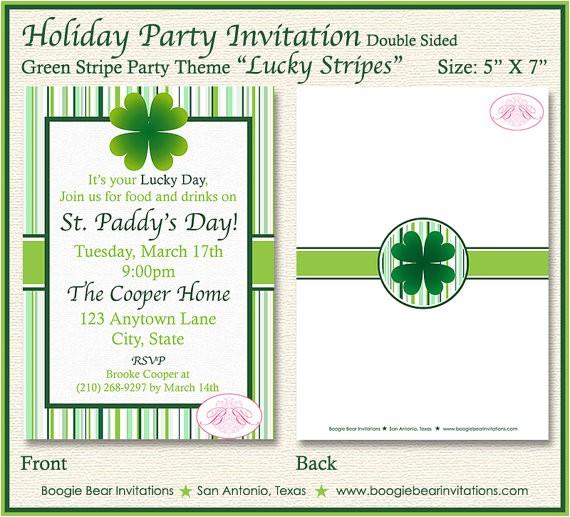 st patricks day party invitation green