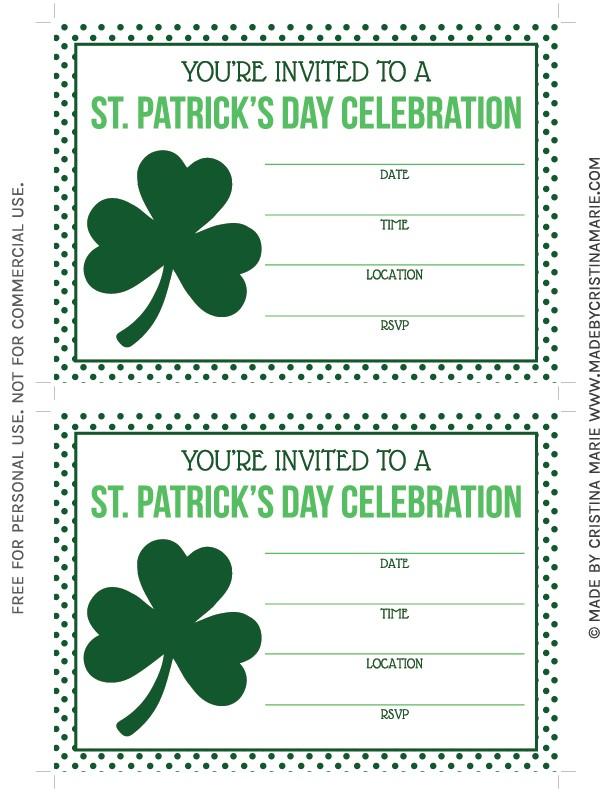 Free Printable St Patrick S Day Birthday Invitations St Patrick S Day Party Printables Free