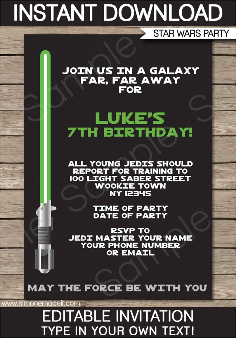 free star wars invitation