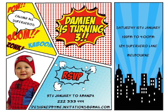 sample superhero birthday invitation