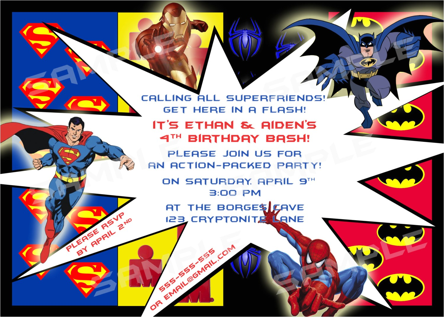 superhero birthday party invitations template