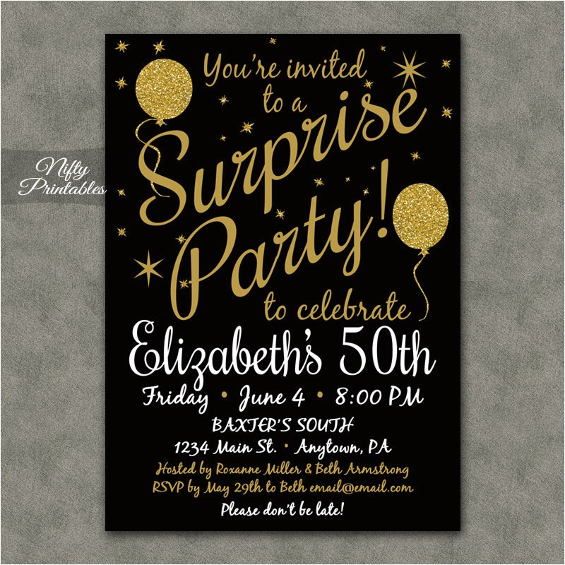 surprise party invitations printable