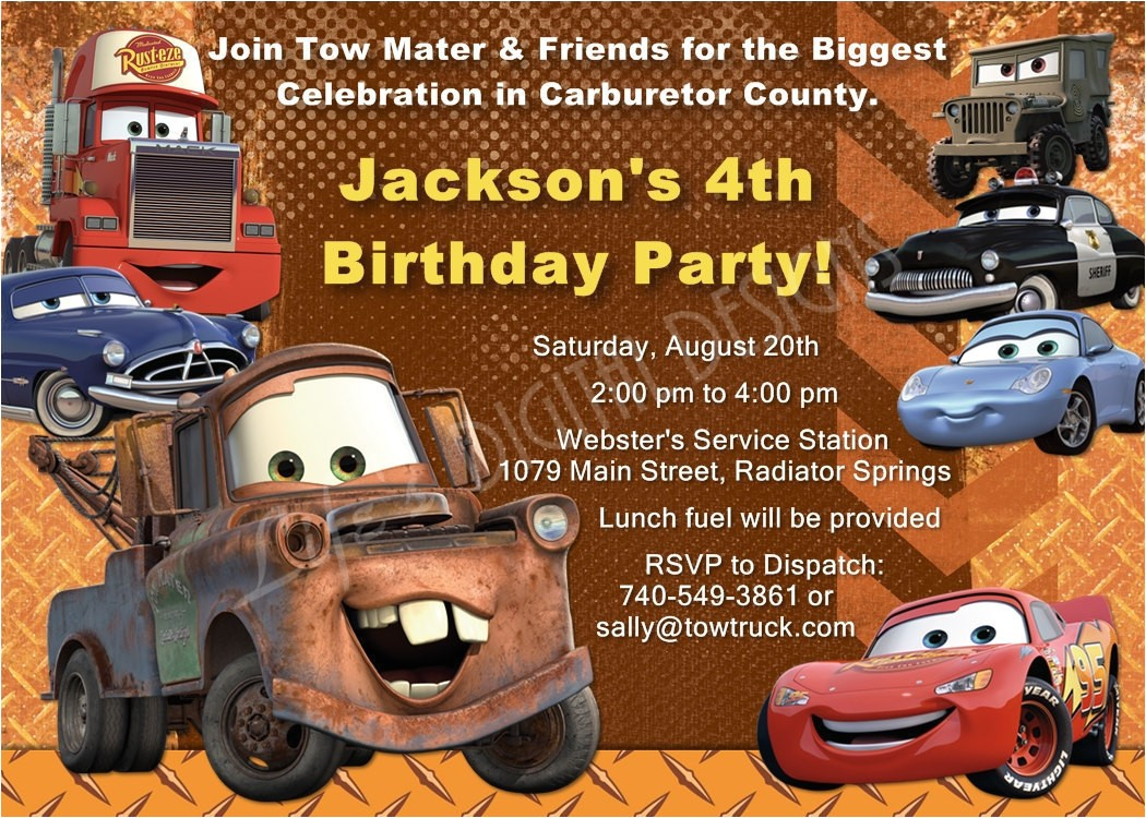 mater birthday invitations tow mater
