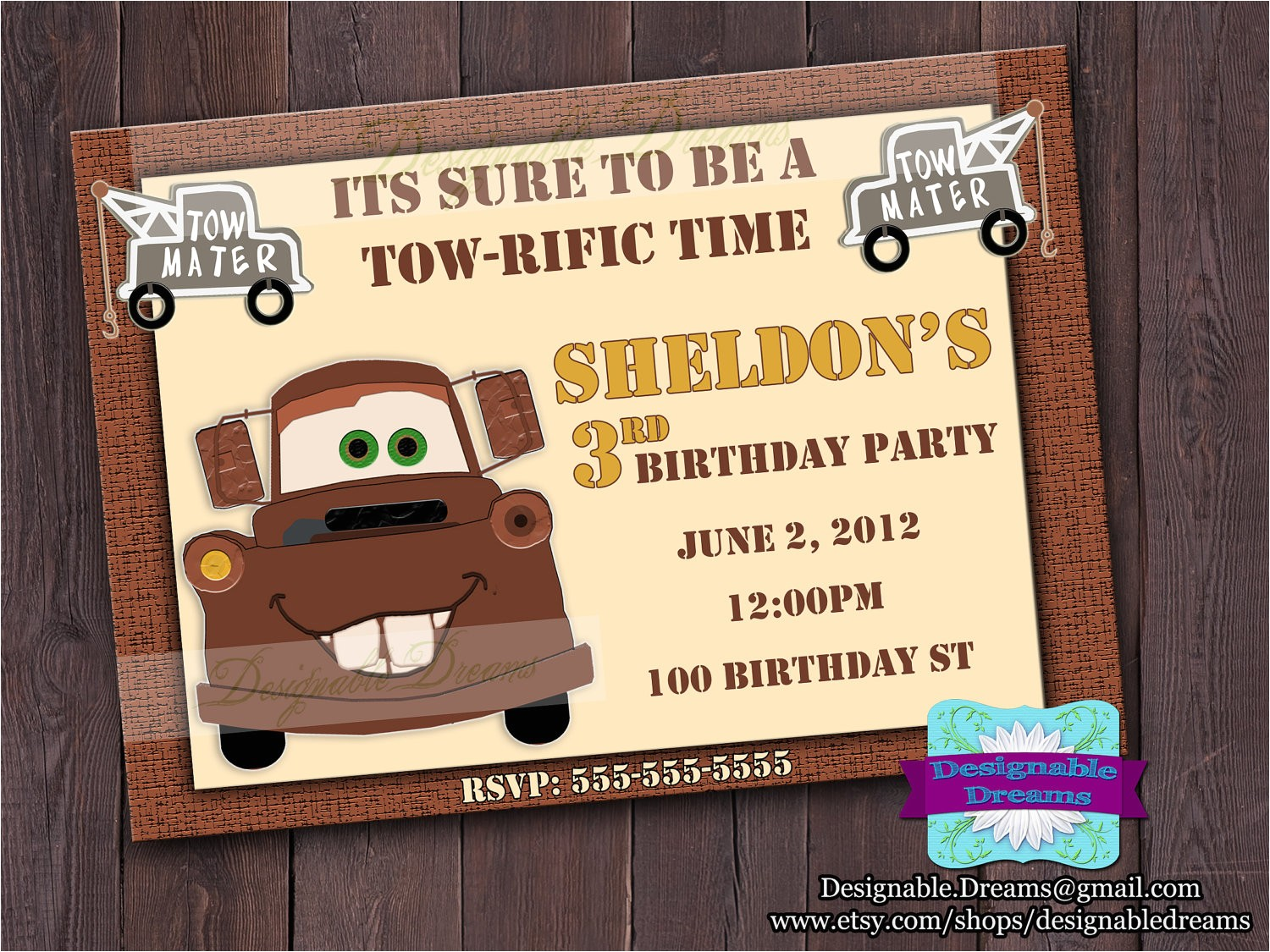 tow mater birthday invitation printable