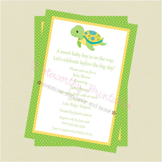 printable turtle baby shower invitation