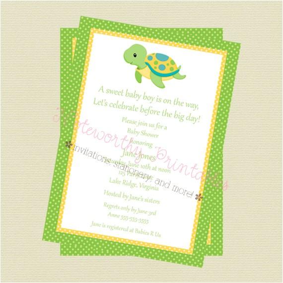 printable turtle baby shower invitation