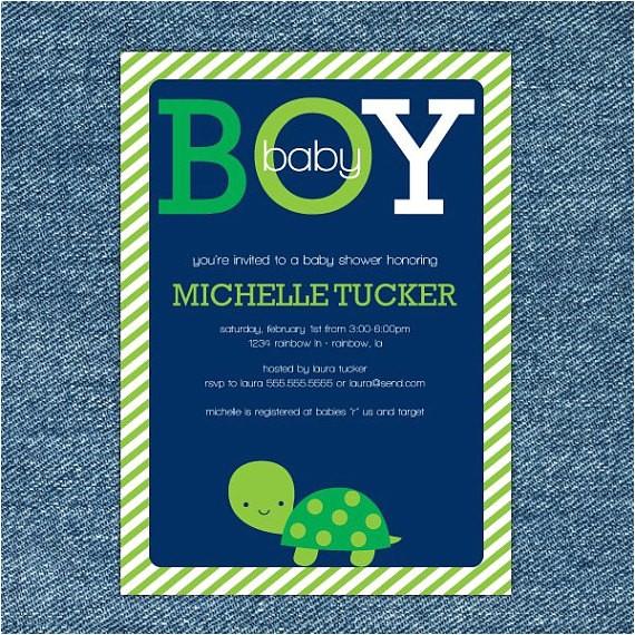 turtle baby shower invitation printable