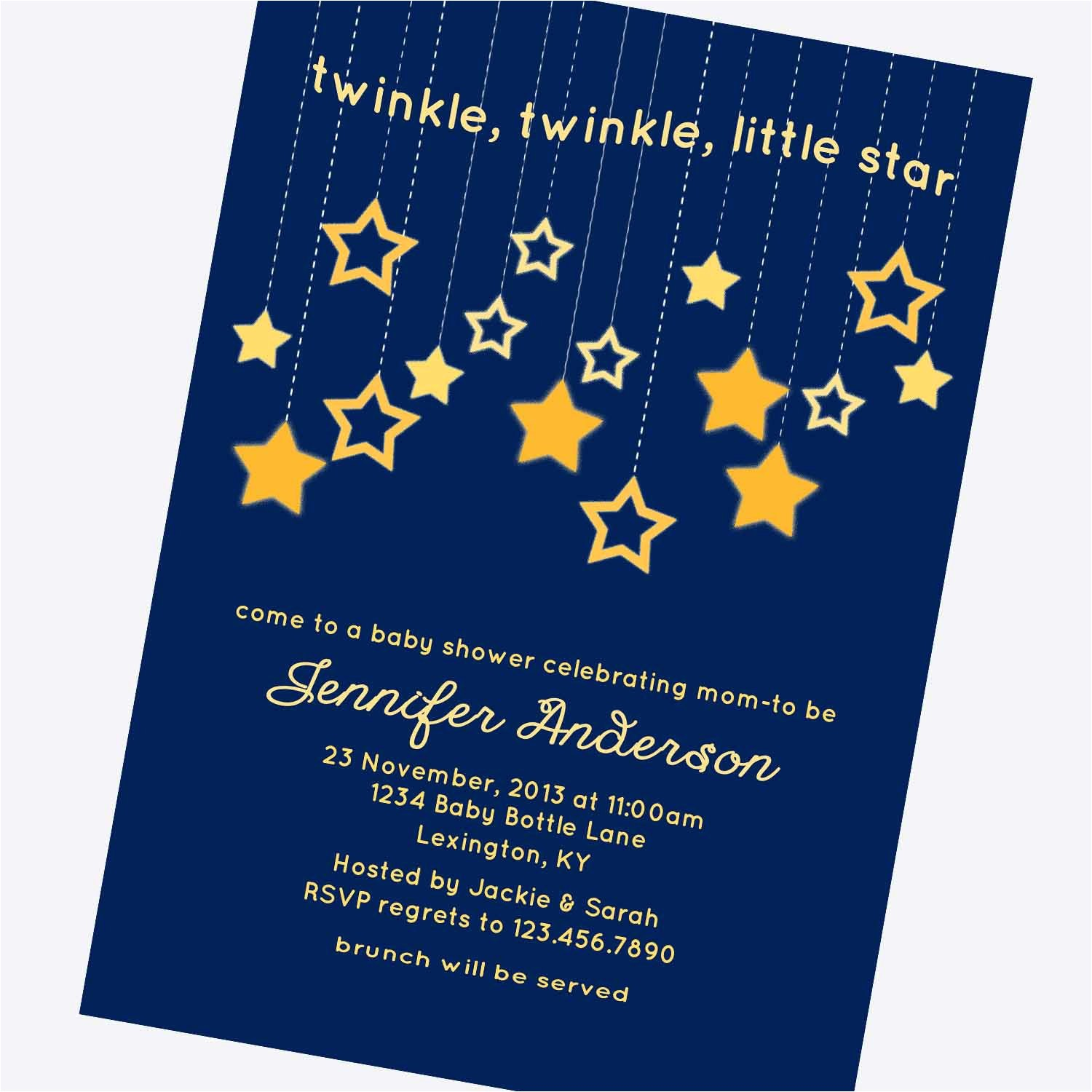 twinkle twinkle little star baby shower invitations template