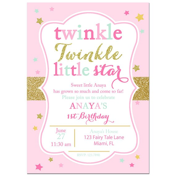 twinkle twinkle star invitation printable printed