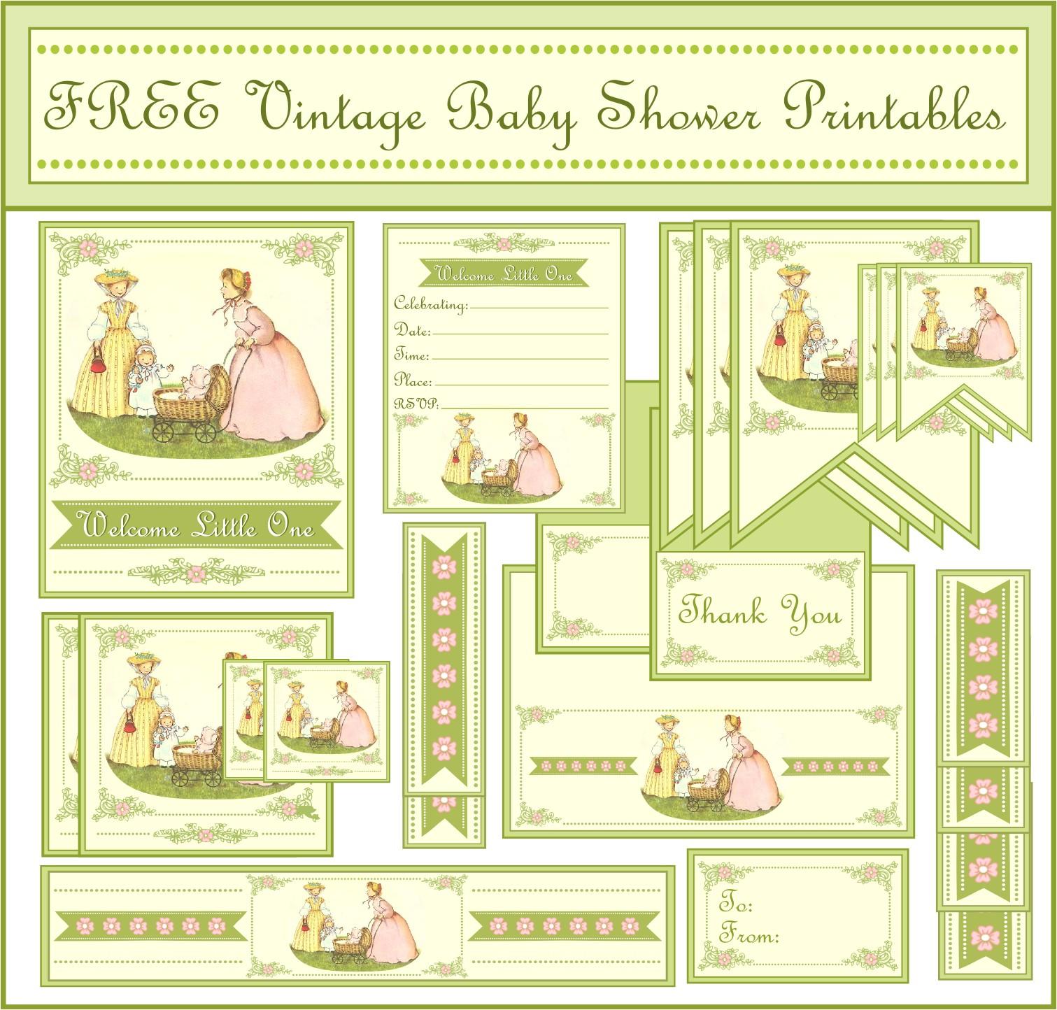 free vintage baby shower printables from printabelle