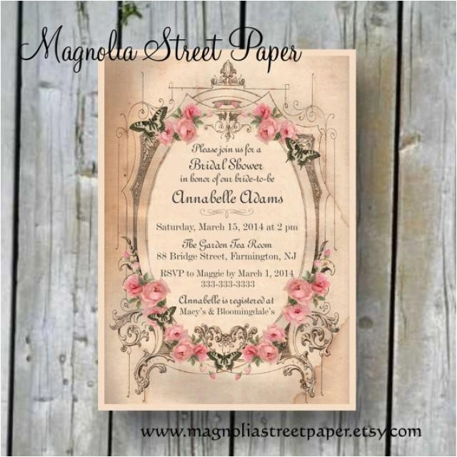 printable bridal shower invitation custom printable shabby chic bridal invite diy bridal invitation vintage bridal shower