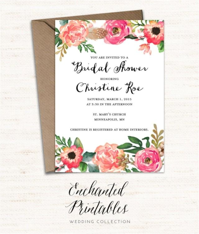 printable bridal shower invitation printable rustic bridal shower invite vintage floral invitation watercolor floral invitation wedding