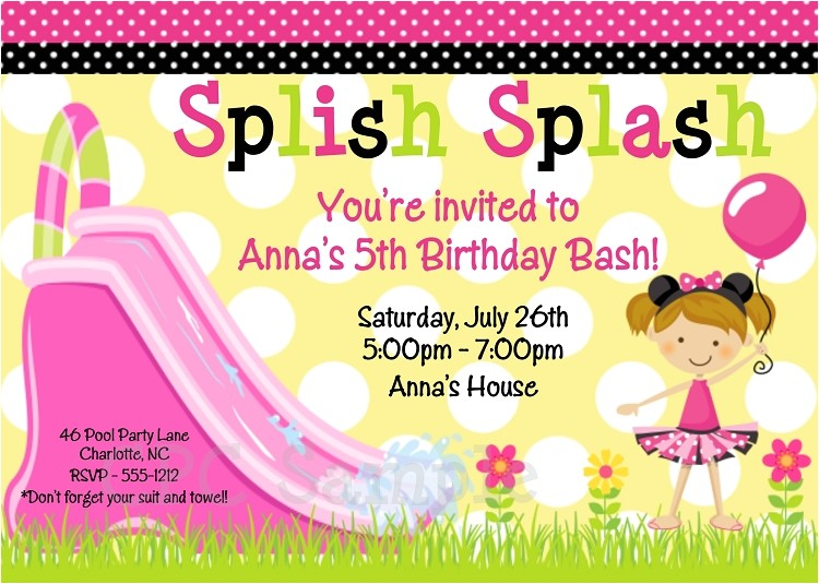 post water slide party invitation templates printable free 361862