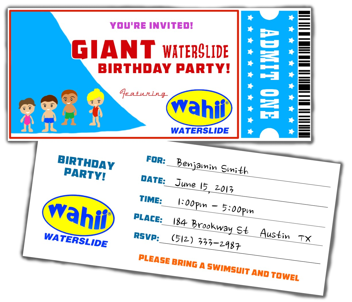 free water slide birthday party invitations