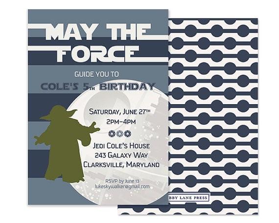 modern star wars invitation custom printable