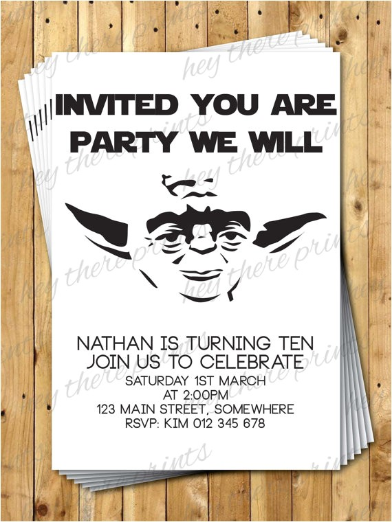 Free Printable Yoda Birthday Invitations Yoda Birthday Invitations Star Wars Darth by Heythereprints