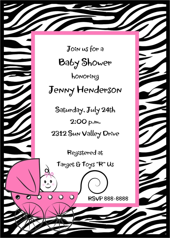 zebra print baby shower invitations